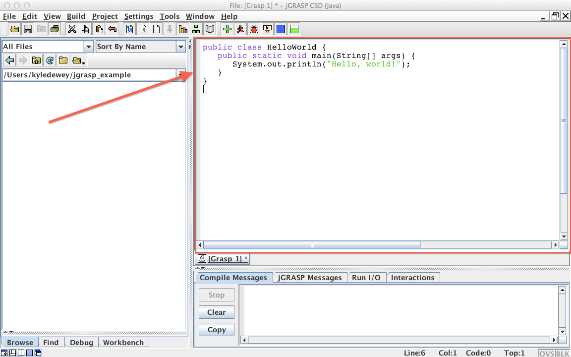 Compiling and Running Java Code with jGrasp
